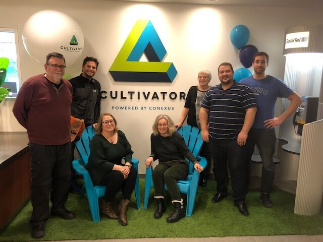 Meeting at Conexus Incubator. From left to right: John Brazill, Josh Campbell, April Bourgeois, Susan Birley, Donna Nelson, Andrew Tait, and Paul Levasseur - Feb 2, 2019