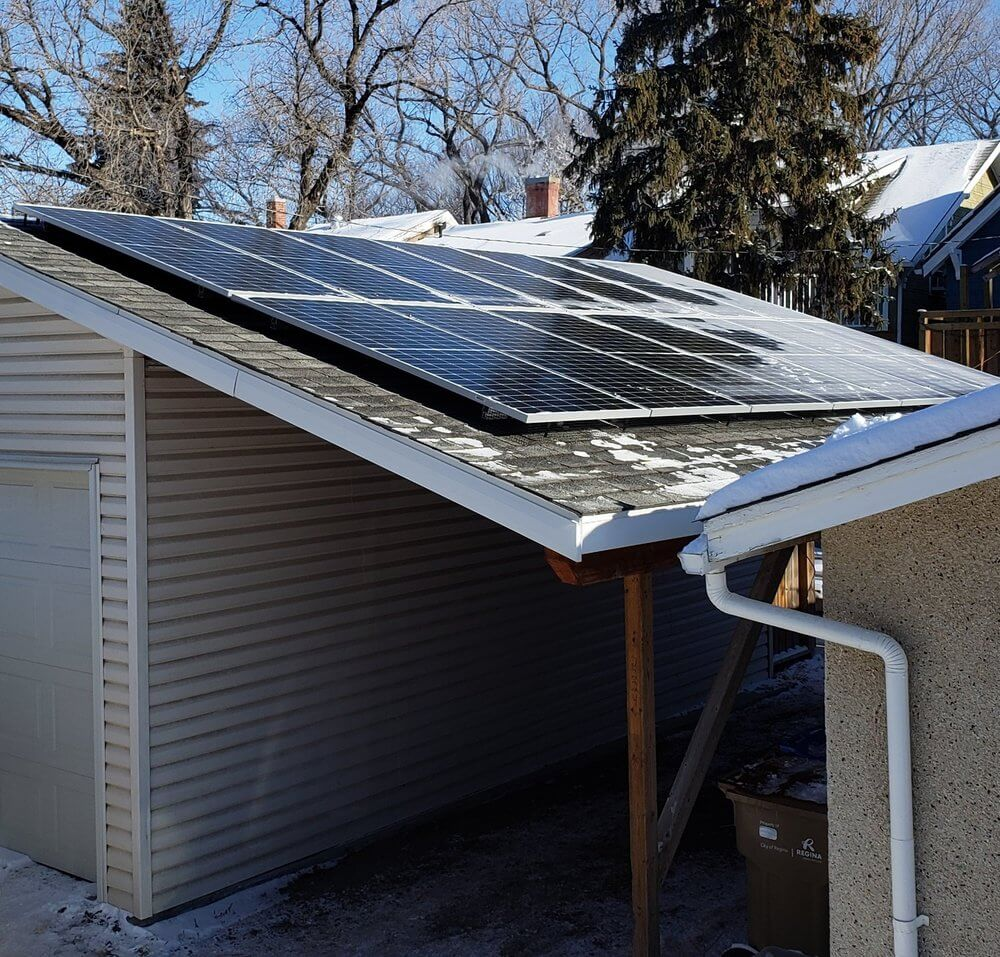 First Group Buy installation on the roof of<br>Josh Campbell's garage (President of Wascana Solar Co-op).